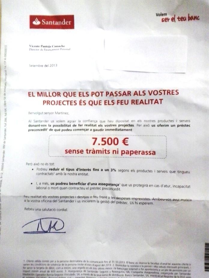 Carta Santander septiembre 2013